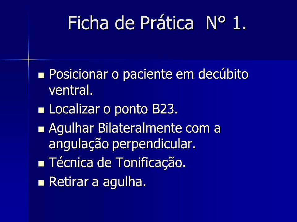 Ficha de Prática N° 1. Posicionar o paciente em decúbito ventral.