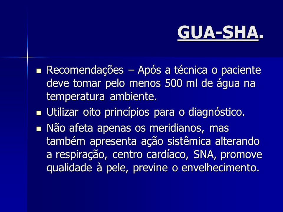 GUA-SHA.Recomendações – Após a técnica o paciente deve tomar pelo menos 500 ml de água na temperatura ambiente.