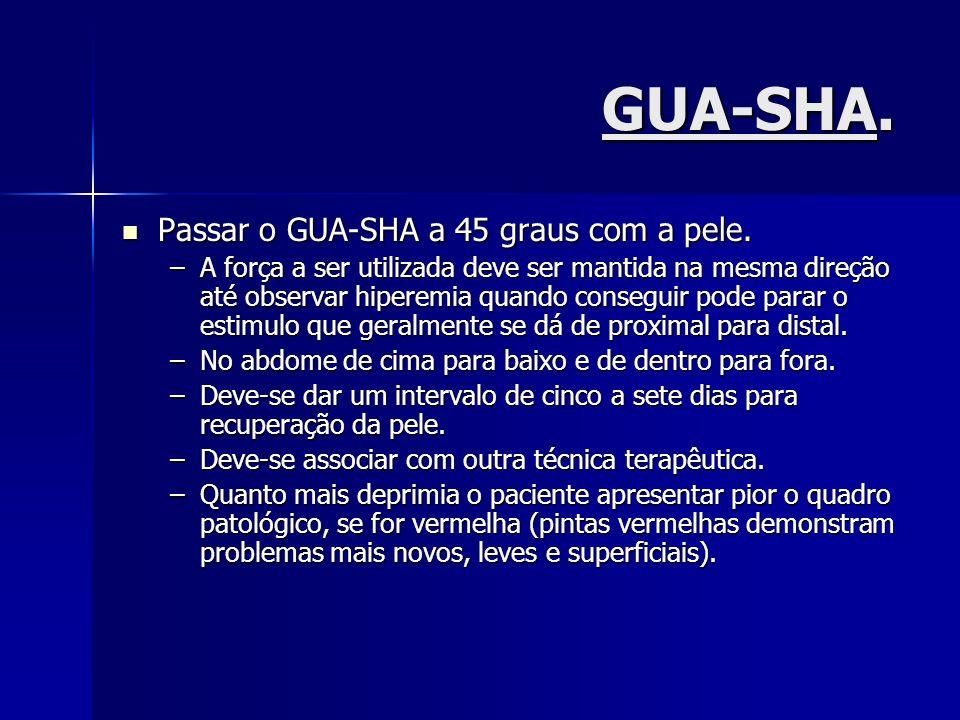 GUA-SHA. Passar o GUA-SHA a 45 graus com a pele.