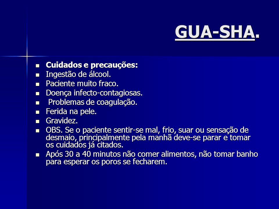 GUA-SHA. Cuidados e precauções: Ingestão de álcool.
