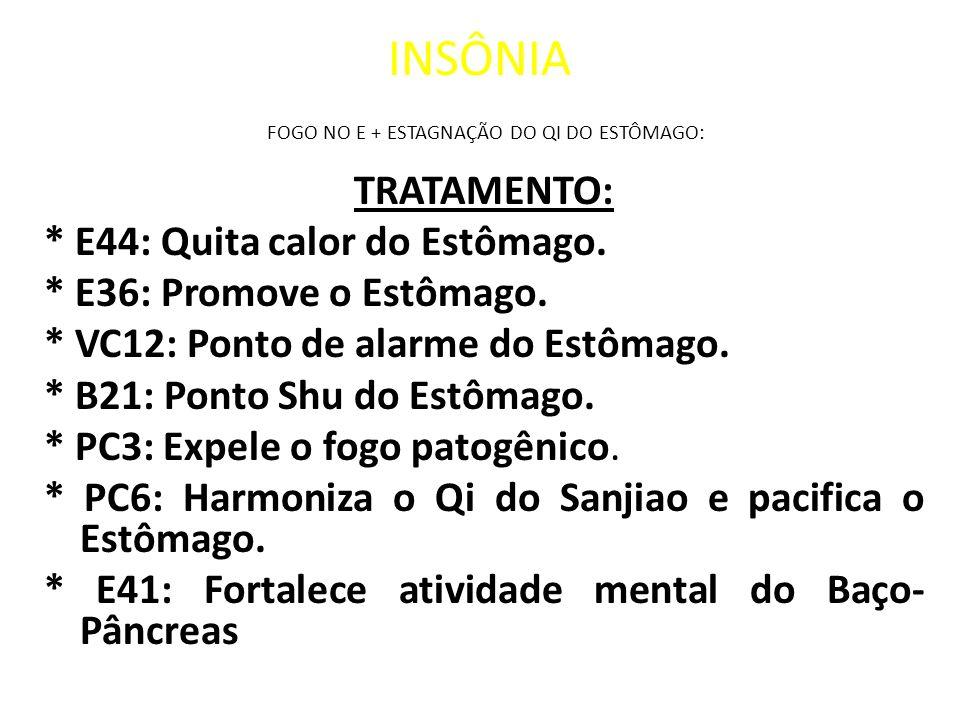 INSÔNIA FOGO NO E + ESTAGNAÇÃO DO QI DO ESTÔMAGO: