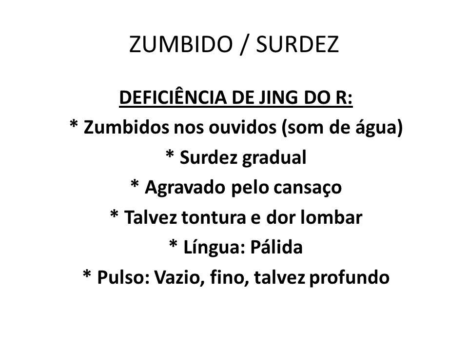 ZUMBIDO / SURDEZ DEFICIÊNCIA DE JING DO R: