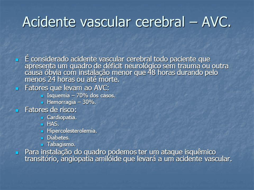 Acidente vascular cerebral – AVC.