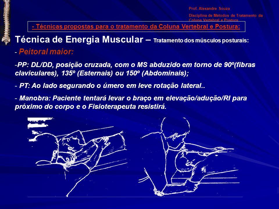 - Técnicas propostas para o tratamento da Coluna Vertebral e Postura: