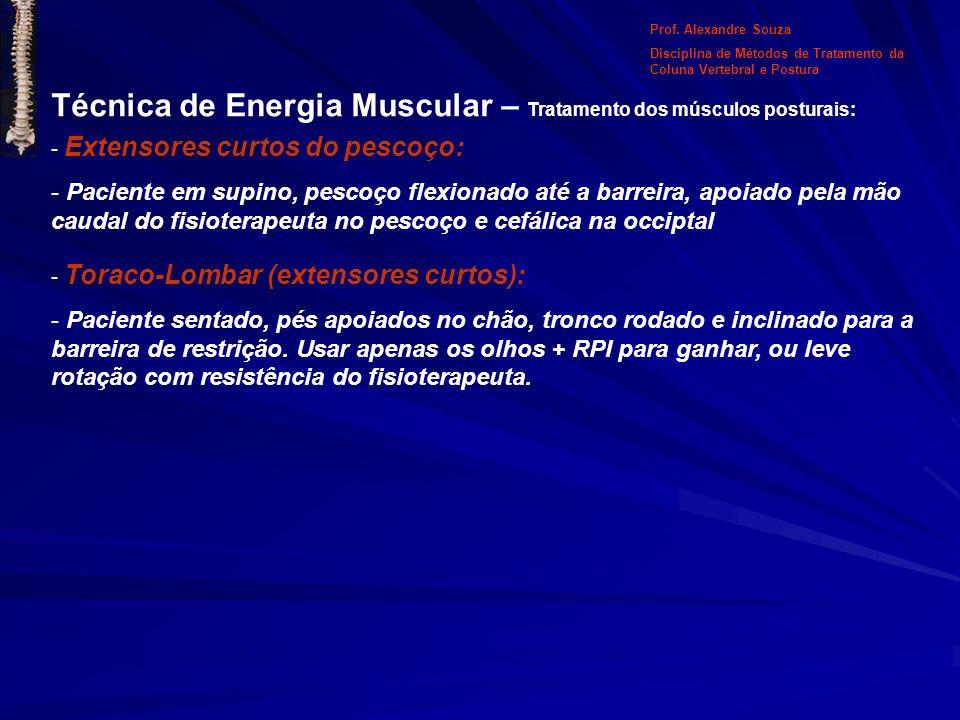 Técnica de Energia Muscular – Tratamento dos músculos posturais: