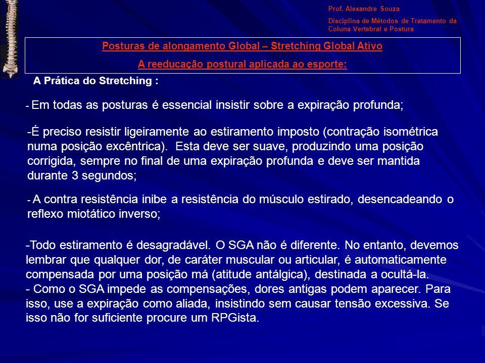 Prof. Alexandre Souza Disciplina de Métodos de Tratamento da Coluna Vertebral e Postura. Posturas de alongamento Global – Stretching Global Ativo.
