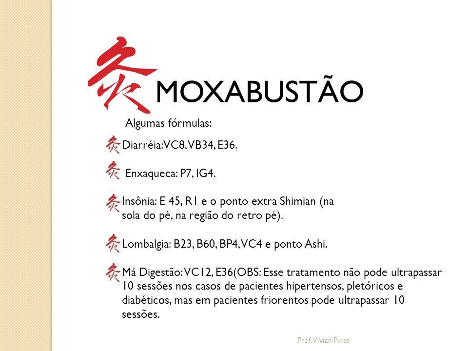 MOXABUSTÃO Algumas fórmulas: Diarréia: VC8, VB34, E36.