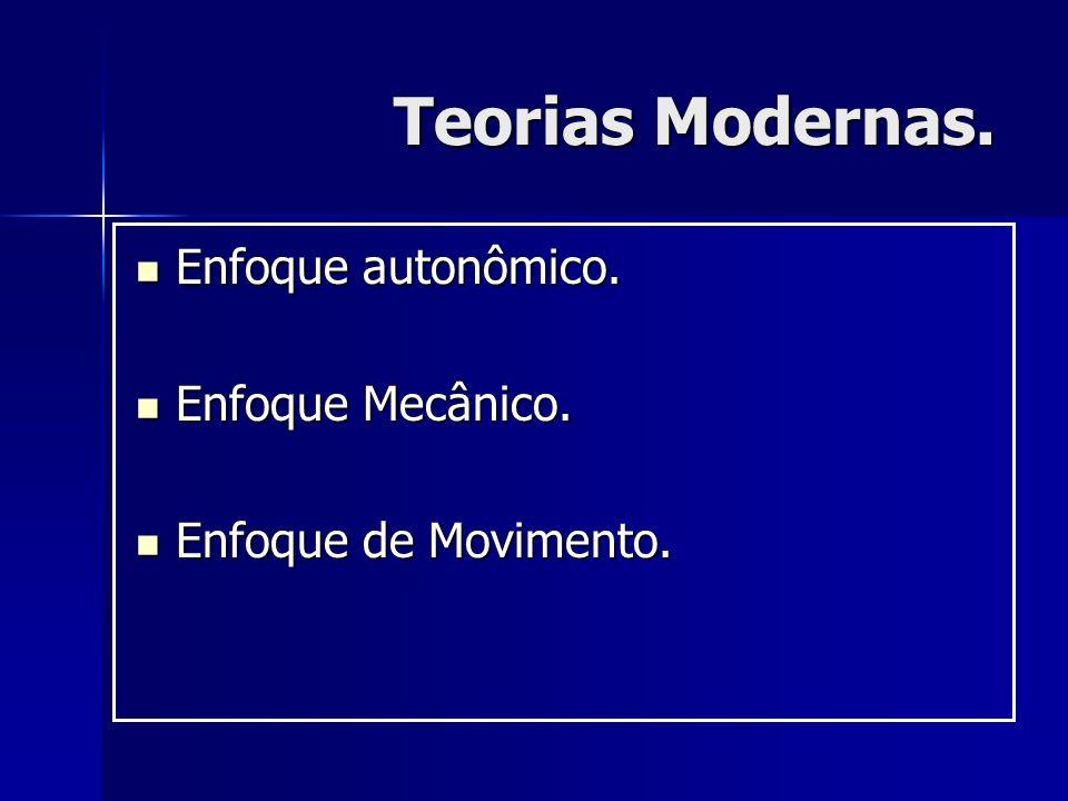 Teorias Modernas. Enfoque autonômico. Enfoque Mecânico.