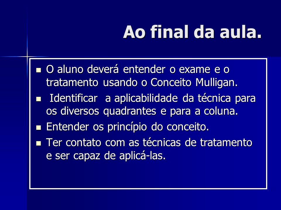 Ao final da aula. O aluno deverá entender o exame e o tratamento usando o Conceito Mulligan.
