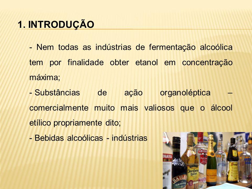 1. INTRODUÇÃO - Nem todas as indústrias de fermentação alcoólica tem por finalidade obter etanol em concentração máxima;