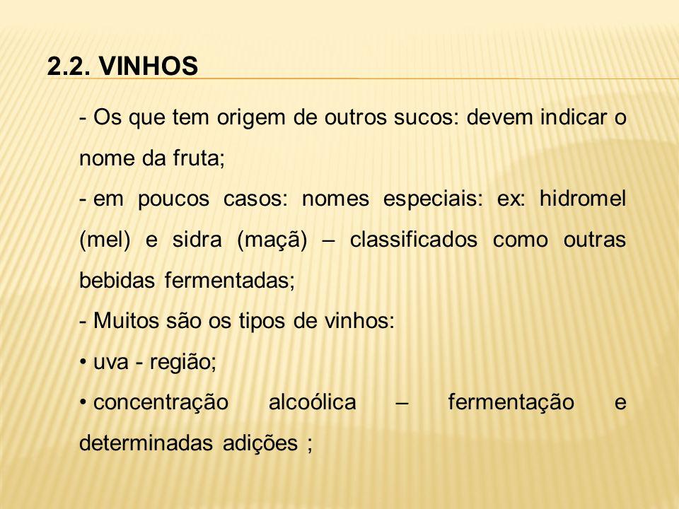 2.2. VINHOS Os que tem origem de outros sucos: devem indicar o nome da fruta;