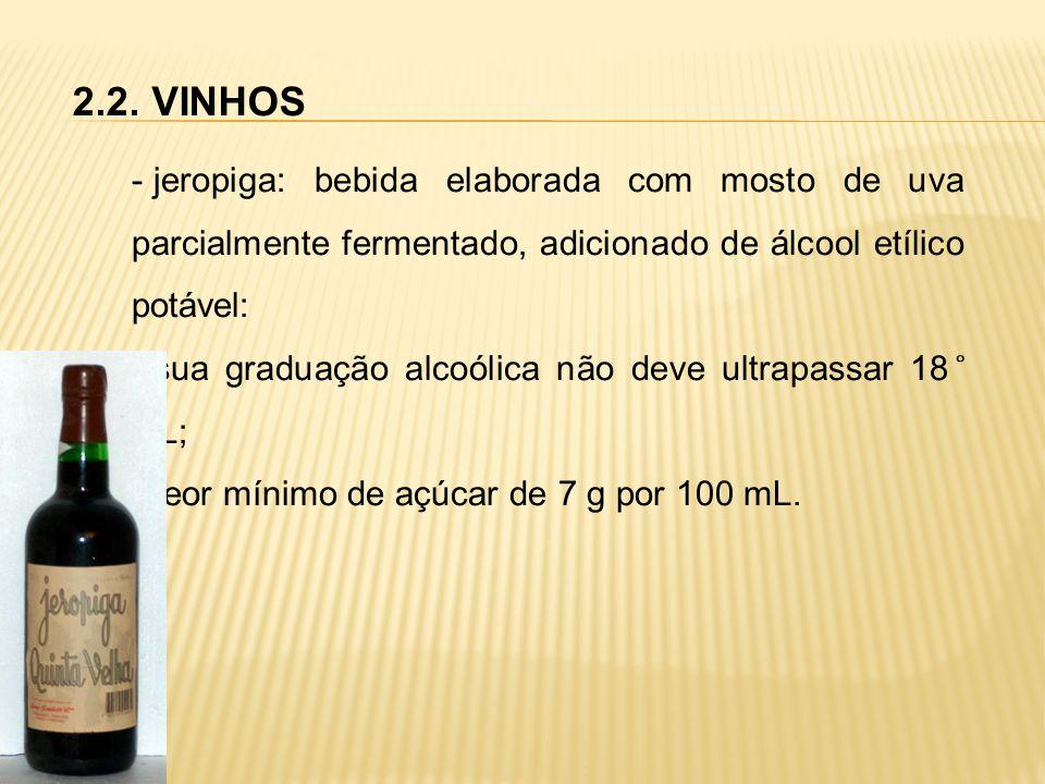 2.2. VINHOS jeropiga: bebida elaborada com mosto de uva parcialmente fermentado, adicionado de álcool etílico potável: