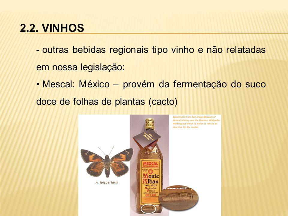 2.2. VINHOS outras bebidas regionais tipo vinho e não relatadas em nossa legislação: