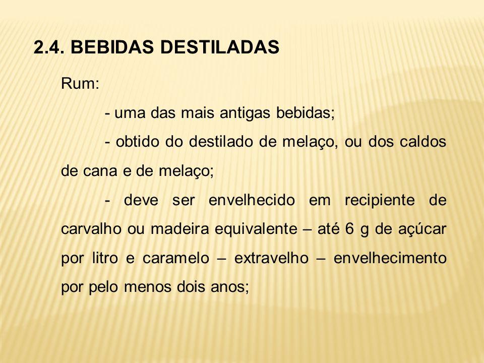 2.4. BEBIDAS DESTILADAS Rum: - uma das mais antigas bebidas;