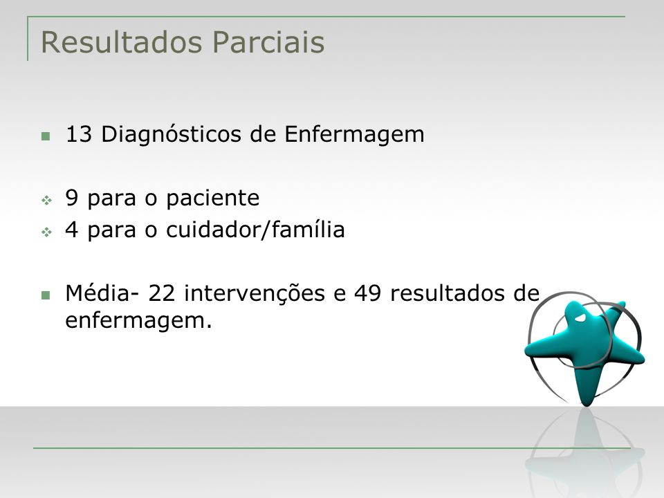 Resultados Parciais 13 Diagnósticos de Enfermagem 9 para o paciente