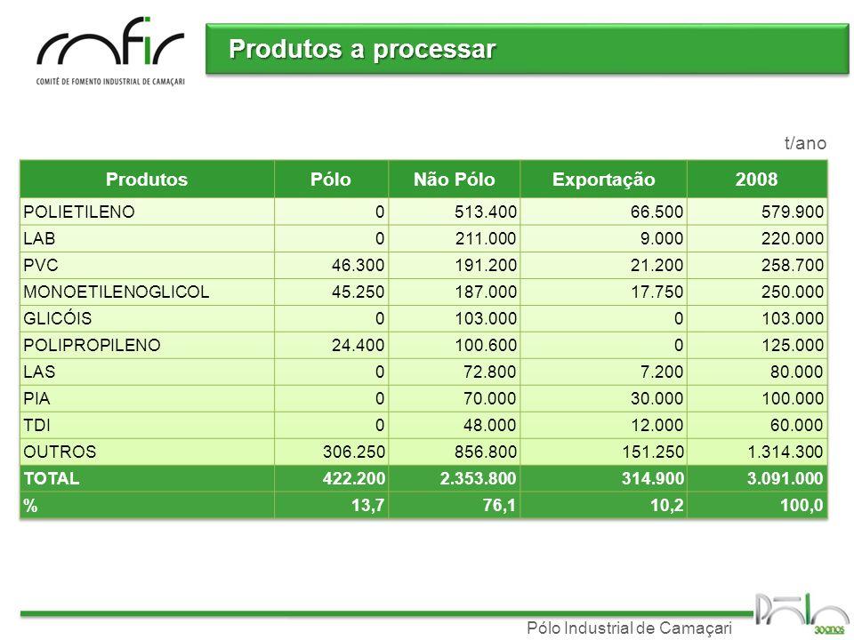 Produtos a processar t/ano Produtos Pólo Não Pólo Exportação 2008
