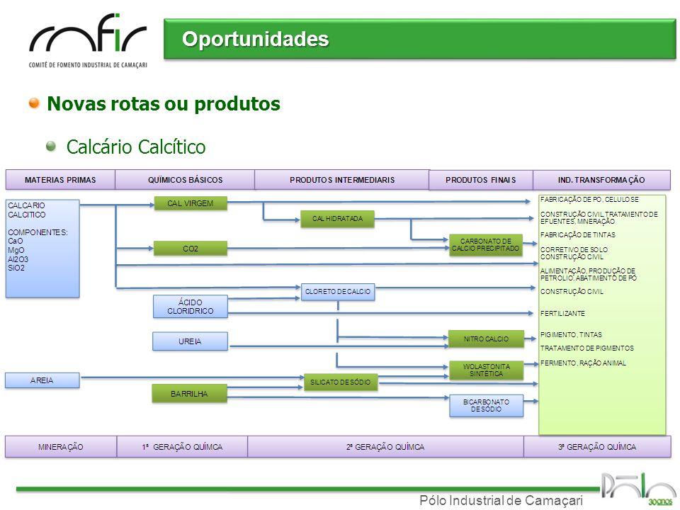 Oportunidades Novas rotas ou produtos Calcário Calcítico
