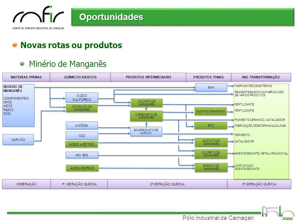 Oportunidades Novas rotas ou produtos Minério de Manganês