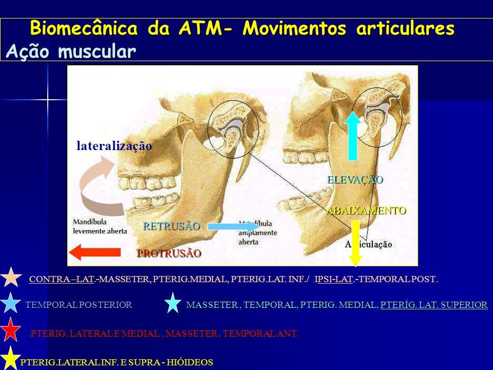 Biomecânica da ATM- Movimentos articulares Ação muscular