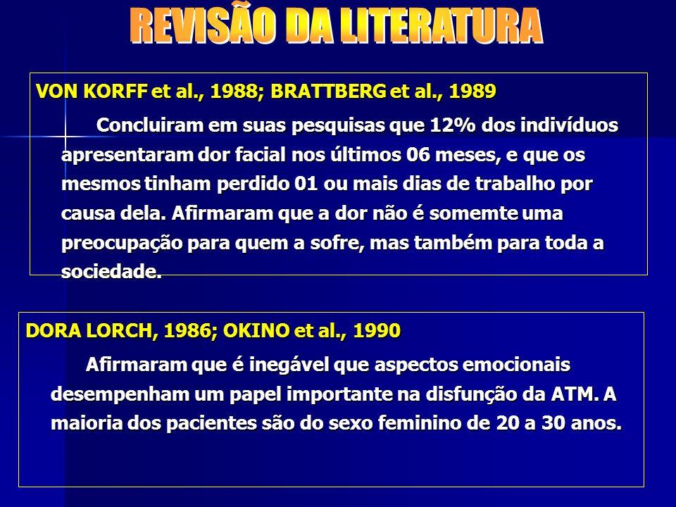REVISÃO DA LITERATURA VON KORFF et al., 1988; BRATTBERG et al., 1989