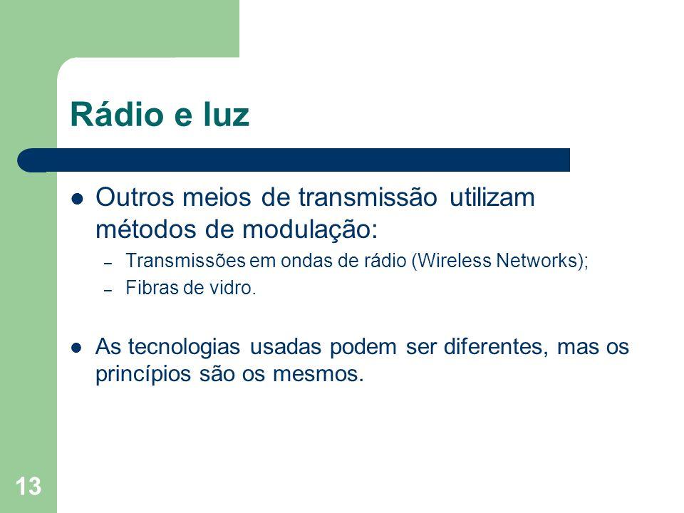 Rádio e luz Outros meios de transmissão utilizam métodos de modulação:
