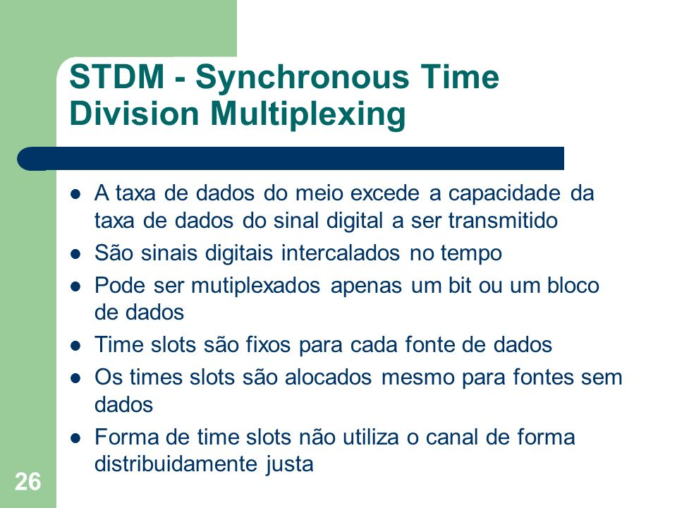 STDM - Synchronous Time Division Multiplexing