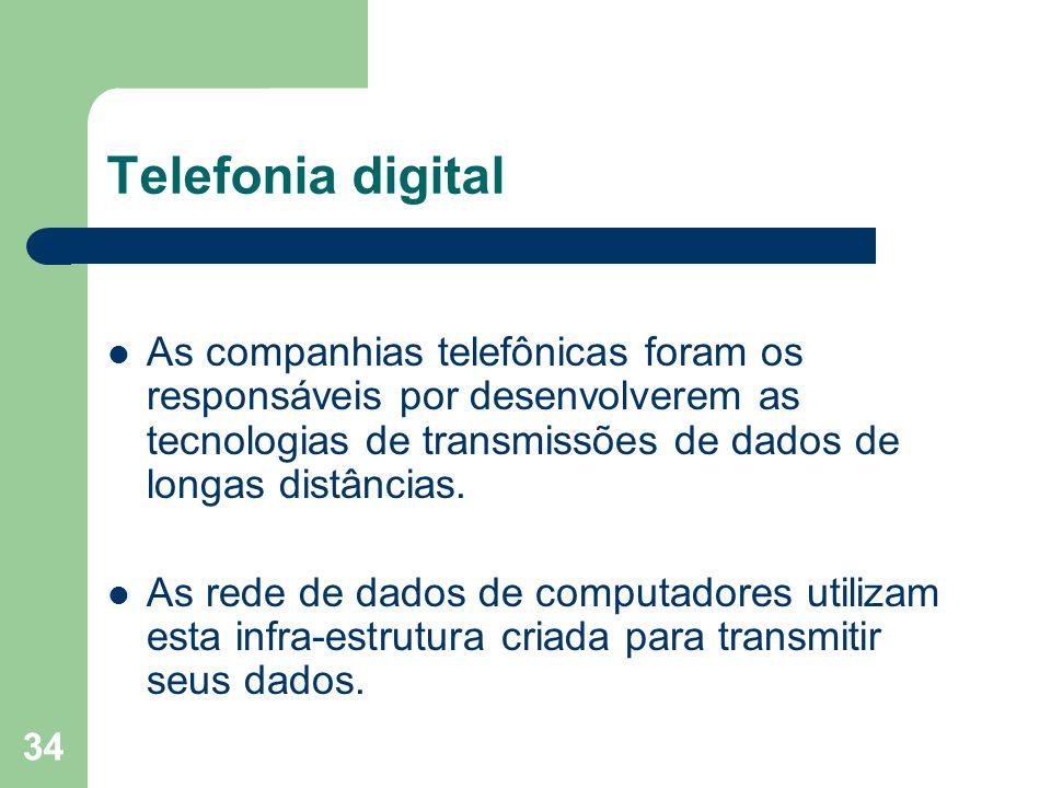 Telefonia digital As companhias telefônicas foram os responsáveis por desenvolverem as tecnologias de transmissões de dados de longas distâncias.