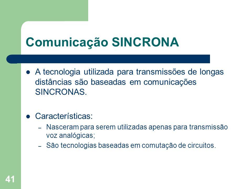 Comunicação SINCRONAA tecnologia utilizada para transmissões de longas distâncias são baseadas em comunicações SINCRONAS.