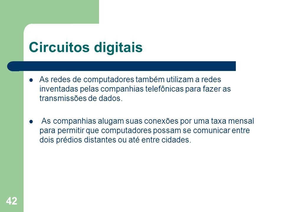 Circuitos digitaisAs redes de computadores também utilizam a redes inventadas pelas companhias telefônicas para fazer as transmissões de dados.