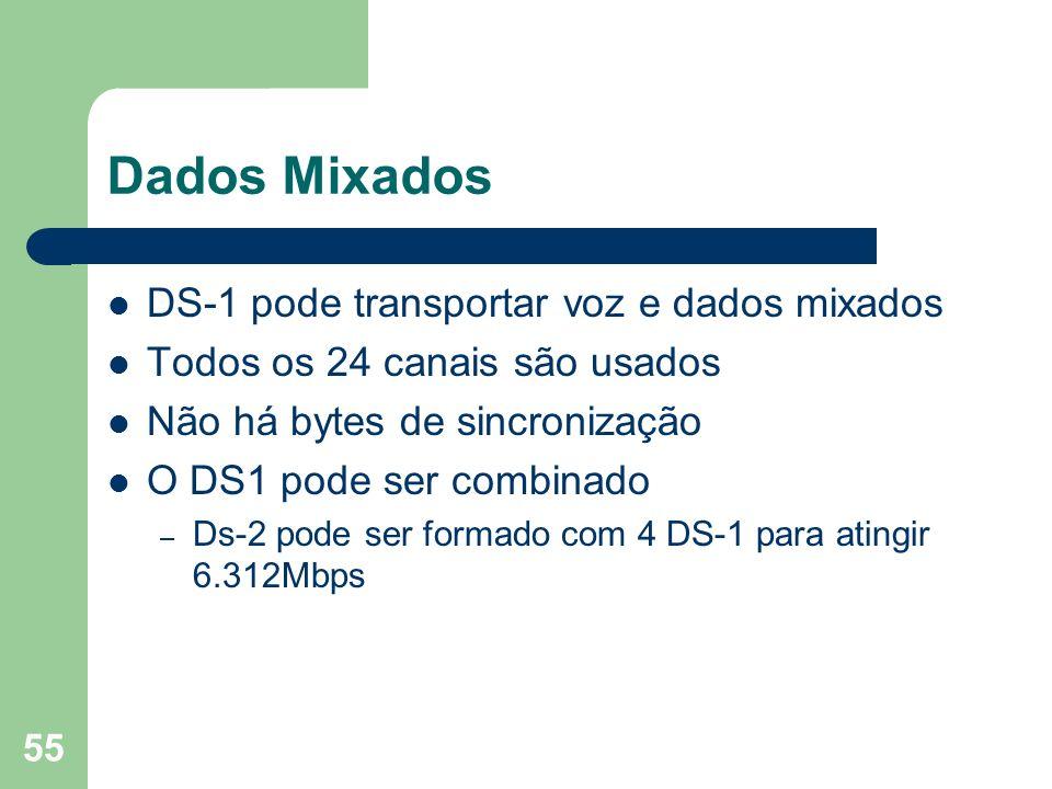 Dados Mixados DS-1 pode transportar voz e dados mixados
