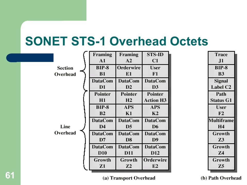 SONET STS-1 Overhead Octets