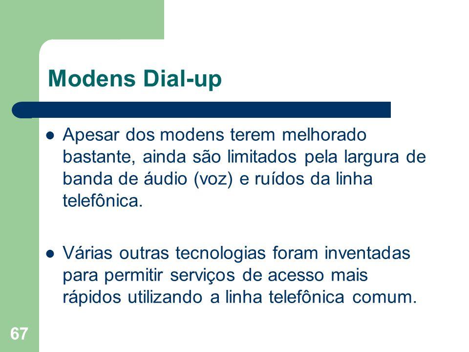 Modens Dial-upApesar dos modens terem melhorado bastante, ainda são limitados pela largura de banda de áudio (voz) e ruídos da linha telefônica.