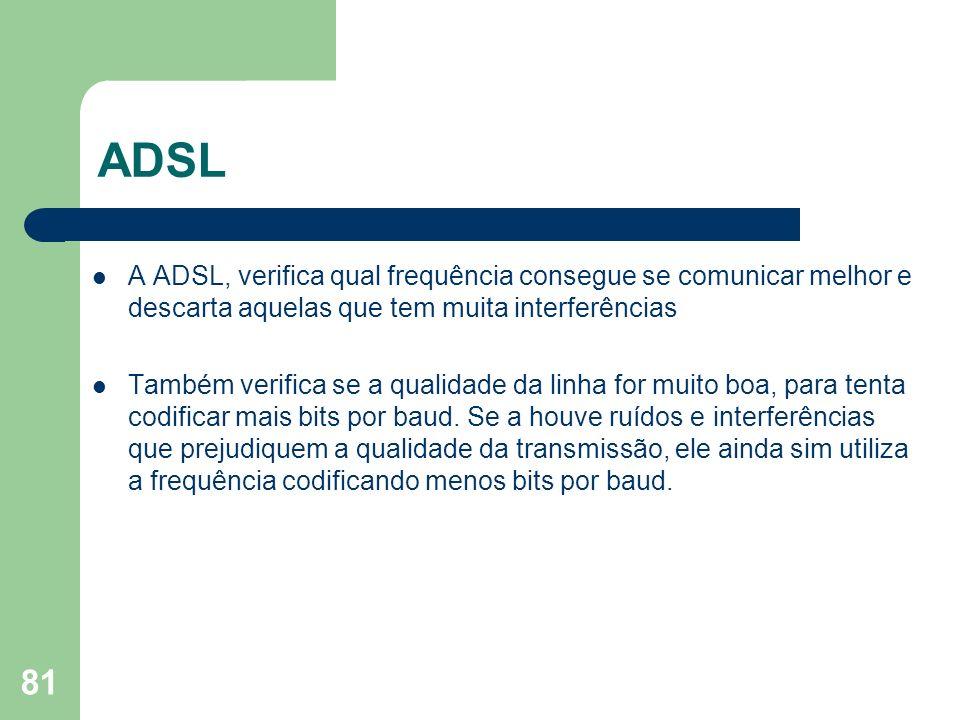 ADSLA ADSL, verifica qual frequência consegue se comunicar melhor e descarta aquelas que tem muita interferências.