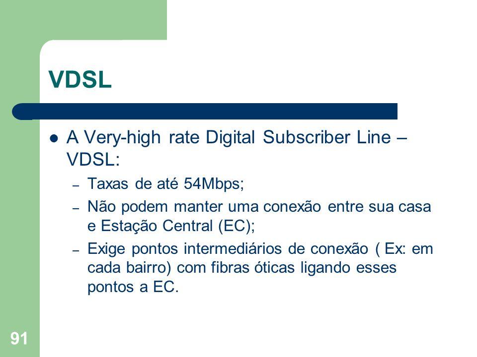 VDSL A Very-high rate Digital Subscriber Line – VDSL: