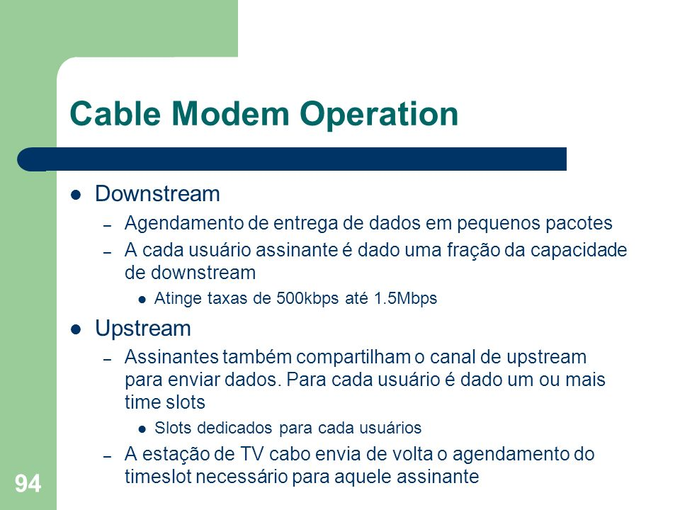 Cable Modem Operation Downstream Upstream