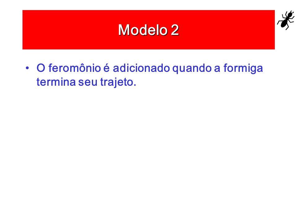 Modelo 2 O feromônio é adicionado quando a formiga termina seu trajeto.