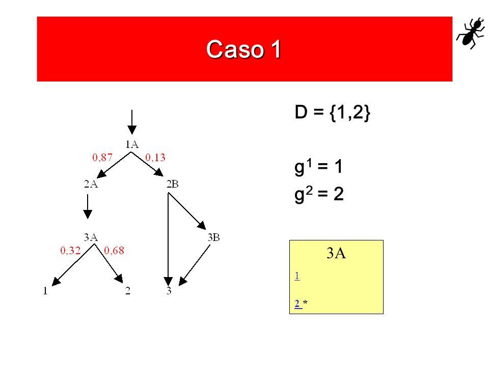 Caso 1 D = {1,2} g1 = 1 g2 = 2 3A 1 2 *