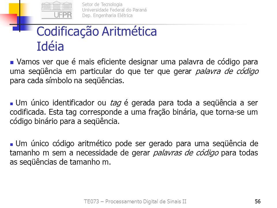 Codificação Aritmética Idéia