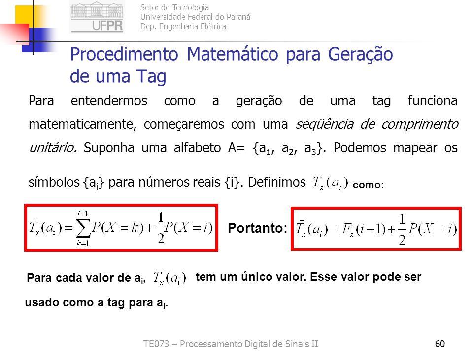 Procedimento Matemático para Geração de uma Tag