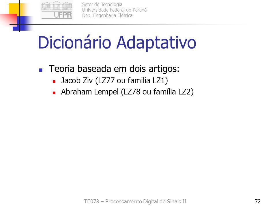 Dicionário Adaptativo