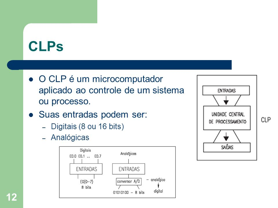 CLPsO CLP é um microcomputador aplicado ao controle de um sistema ou processo. Suas entradas podem ser: