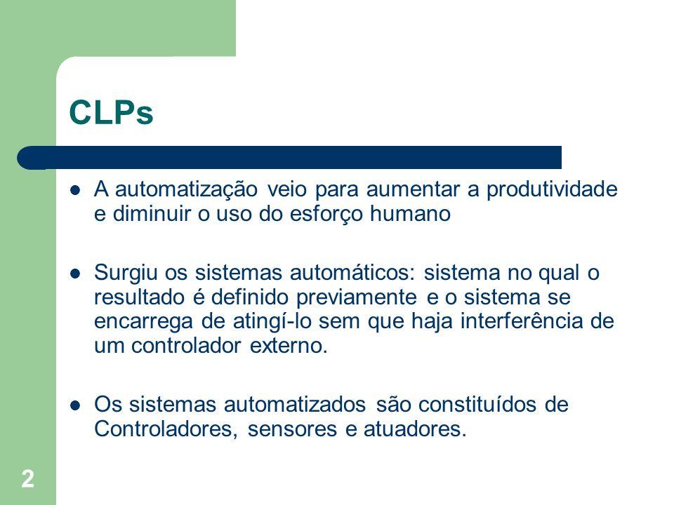CLPs A automatização veio para aumentar a produtividade e diminuir o uso do esforço humano.