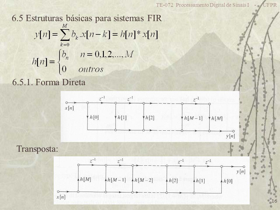6.5 Estruturas básicas para sistemas FIR