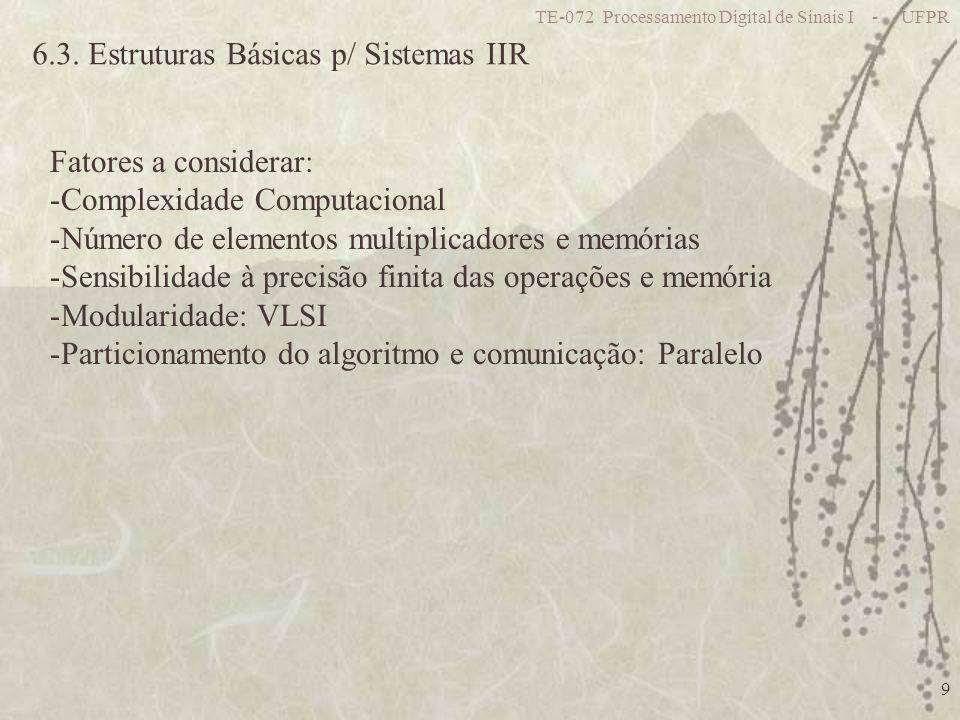 6.3. Estruturas Básicas p/ Sistemas IIR