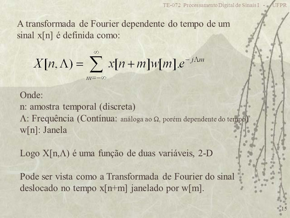 A transformada de Fourier dependente do tempo de um