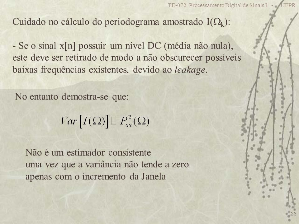 Cuidado no cálculo do periodograma amostrado I(k):