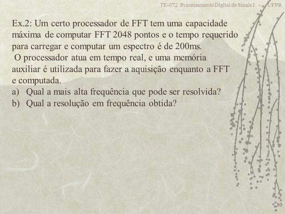 Ex.2: Um certo processador de FFT tem uma capacidade