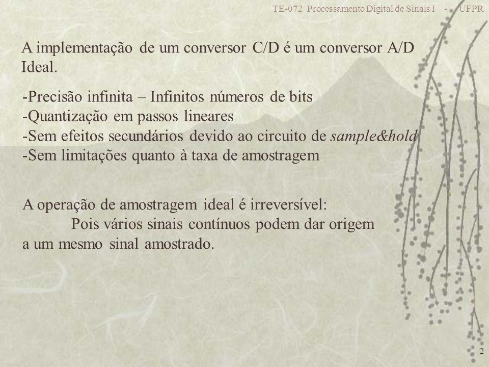 A implementação de um conversor C/D é um conversor A/D Ideal.