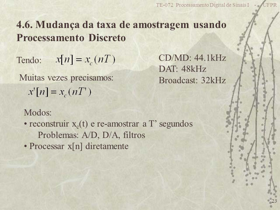 4.6. Mudança da taxa de amostragem usando Processamento Discreto