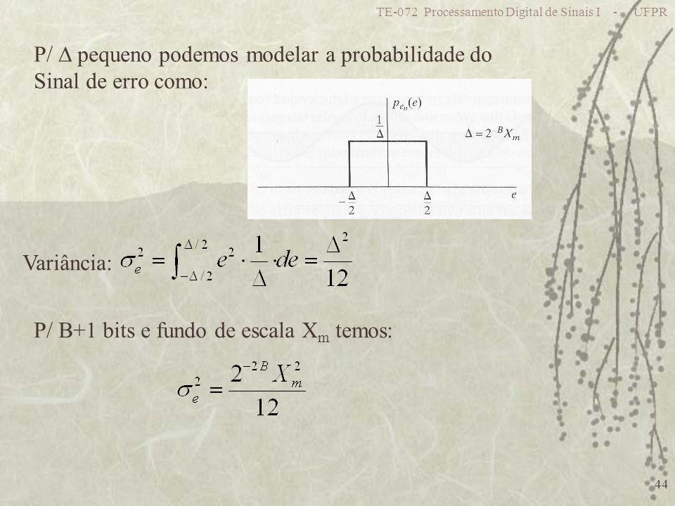 P/  pequeno podemos modelar a probabilidade do Sinal de erro como: